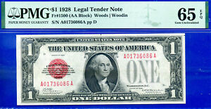 1928 $1 US Note (( Legal Tender - Red Seal )) PMG Gem 65EPQ # A01736086A-