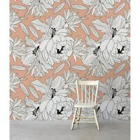 Non-Woven wallpaper Peony Revolution Floral Sketch Flowers Traditional art Mural