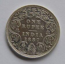 1887 British India Silver 1 Rupee Coin - Victoria Empress -  OLD Rare