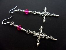A PAIR OF FLOWER CROSS EARRINGS WITH 925 SOLID SILVER HOOKS. NEW..