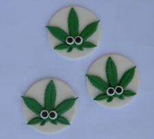 12 edible WEED LEAF cake topper decoration CUPCAKE HEMP cannabis