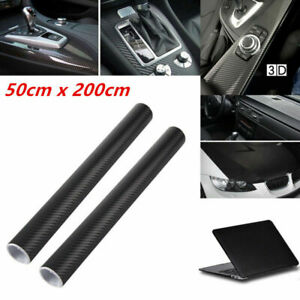 2PCS 50x200cm Car 3D Carbon Fiber Vinyl Foil Film Wrap Roll Sticker Decals Valid
