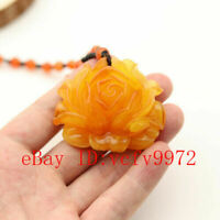 Yellow Amber Rose Pendant Fashion Flower Necklace Woman Charm Jewelry Amulet