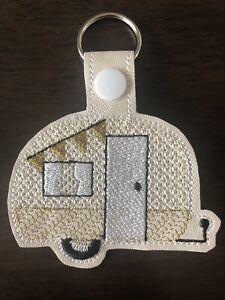Handmade Embroidered Caravan Keyring