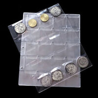 1Sheet Clear 20 Pockets Plastic Coin Holders Storage Collection Money Album Case