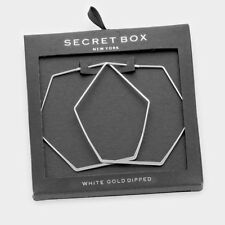 Hexagon Hoop Earrings Tiny Secret Gift Box WHITE GOLD DIPPED Small Thin 2.5""