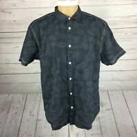 Cypress Club Men's Size Medium Black Two Tone Palm Hawaiian Shirt Short Sleeve.R