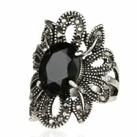 Gifts Women Agate Stone Jewelry Hollow Out Punk Ring Silver Zircon Flower Shape