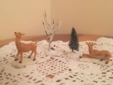 Lemax Christmas Village Reindeers  X 2 Plus Christmas Trees