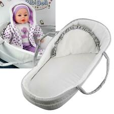 More details for carry cot for dolls grey baby doll bed pillow carry handles sleeping bag carrier