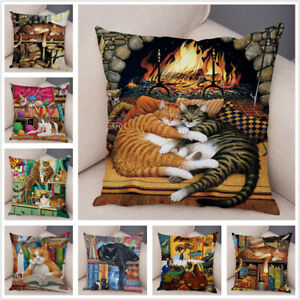 Oil Painting Coloful Cat Cushion Cover Pillowcase Home Decor Cartoon Animal