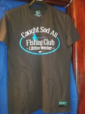 "MENS T SHIRT..DROWNING WORMS..SIZE M...BROWN...""CAUGHT SOD ALL CLUB""...NWT"