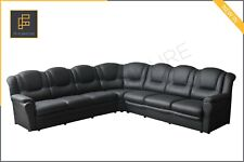 EXTRA LARGE TEXAS SECTIONAL CORNER SOFA 3CR3 BLACK FAUX LEATHER 295 cm x 295 cm