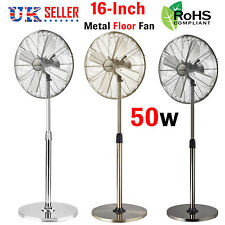 "16"" Pedestal Fan Floor Standing Chrome Metal Oscillating Electric Air 3 Speed UK"