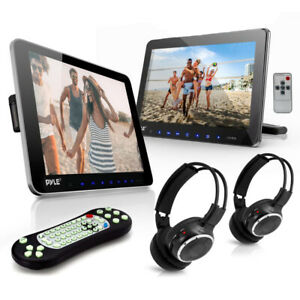 Pyle PLHRDVD101KT Dual Portable Car CD DVD TV Players with 2 Wireless Headphones