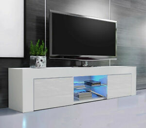 Modern White TV Unit Cabinet Stand Sideboard Matt Small and High Gloss Door LED