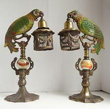 PAIR 30's ART DECO Cast Iron  PARROT LAMPS w/Cages POLYCHROME DIAMOND Mftg As Fo