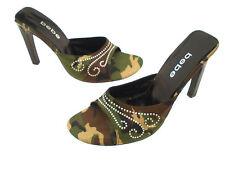 Bebe Open Toe Slides Heel Pumps Textile Upper & Leather Soles Size 8B