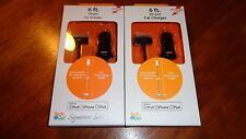 Lot 2 Tech & Go 6 FT Car Chargers iPhone 3, 4, iPad iPod Touch&Nano 30 Pin Black