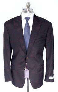 NWT ROBERT GRAHAM Burgundy Jacquard Classic Fit Smoking Jacket Coat 40 S EU 50