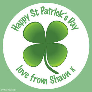 Personalised Happy St Patrick's Day Shamrock Stickers Party Sweets Cake N448