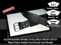 Scaffold Heavy Duty  2IN1 Leather & Nylon Tool Padded Belt Rings 4 Tools Lanyard