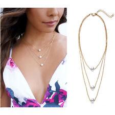 Pearl Bead Chain Necklace Pendants Jewelry 3 Layers Women Retro Simple Single