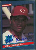 Original Autograph of Kal Daniels of the Cincinnati Reds on a 1986 Donruss Card