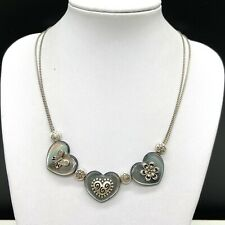 Brighton Double Strand Chain Gray Heart Pendant Necklace Butterfly Flower