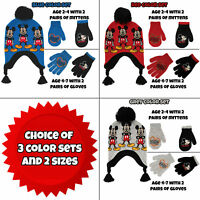 Disney Little Boys Mickey Mouse Hat and 2 Pair Gloves/Mittens Cold Weather Set