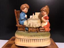 Vintage Sankyo Japan Music Box Boy and Girl at Table with candle praying