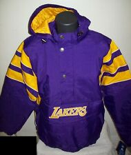LOS ANGELES LAKERS Starter Hooded Half Zip Pullover Jacket S M L XL 2X PURPLE