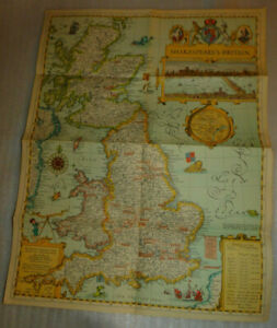 Shakespeare's Britain London Map National Geographic Society May 1964 Play