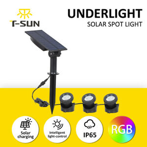 Solar LED RGB Waterproof Spot Lights Garden Outdoor Pond Pool Yard Underwater UK