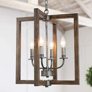 Farmhouse Chandelier, 4-Light Foyer Lighting for Dining Room, Faux-Wood Kitchen