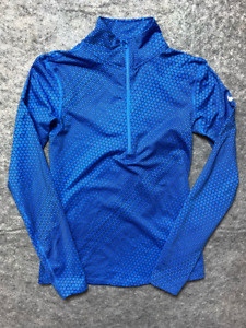 Nike Dr-Fit Womens Pullover T-Shirt Blue Geometric Long Sleeve 1/2 Zip Stretch M
