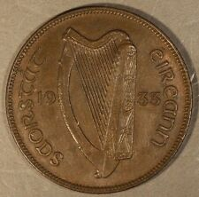 1933 Ireland Penny Toned Lightly Circulated        ** Free U.S. Shipping **