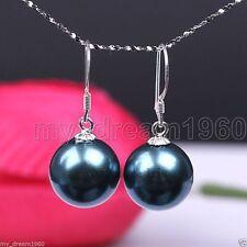 New Women's 925 sterling Silver Genuin 12mm Sea Black Shell Pearl Hook Earrings
