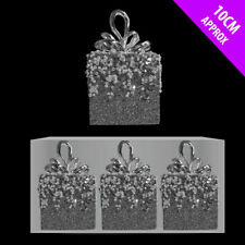 3 x CHEAP Silver Sparkle Beaded Parcel Hanger Christmas Tree Hanging Decorations