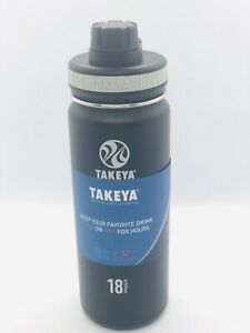 Takeya Black Originals Vacuum-Insulated Stainless-Steel Water Bottle 18oz