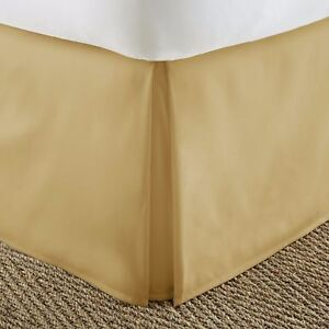 1000 TC Gold Solid Bed Skirt Select Drop Length All US Size 100% Egyptian Cotton