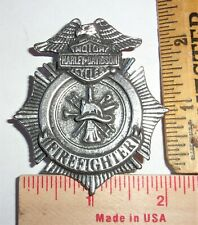 vintage Harley Firefighter badge collectible old HD motorcycle FD memorabilia