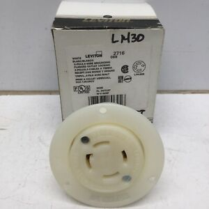 LEVITON 2716 Flanged Locking Outlet 30A 125/250V 3 Pole 4 Wire, L14-30