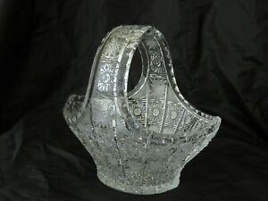 Czech Bohemian Bowl-Basket Crystal Glass Vase Hand Cut Desert Fruits Sweet Decor