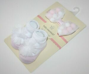 Baby Shower Infant Headband Hair Bow and Sock Booties Size 0-6M Essentials Pink