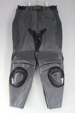 TEKNIC BLACK LEATHER BIKER TROUSERS + KNEE SLIDERS SIZE 12: WAIST 32/I. LEG 28IN