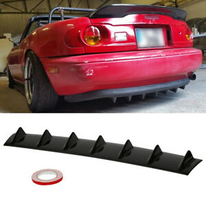 """Universal Rear Bumper Shark Fin 33""""x6"""" ABS Chassis Black 7 Wing Lip Diffuser"""