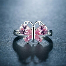 Gorgeous Butterfly Women 925 Silver Jewelry Pink Sapphire Wedding Ring Size 8