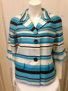 Talbots Colorful Turquoise Stripe Button  Front Jacket SZ 12 Lined Short Sleeve