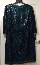 Tahari Arthur S Levine Plus Size 18W Green Black Lace Sequin Formal Short Dress